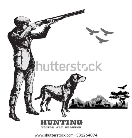 hunting with dog.hand drawn...