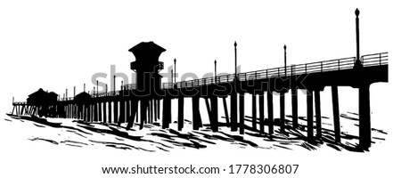 Huntington Beach Pier Silhouette vector graphic in black on white background