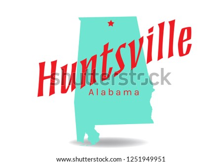 Huntsville, Alabama Map, Vector EPS 10.