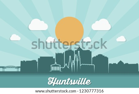 Huntsville skyline - Alabama, United States of America, USA - vector illustration