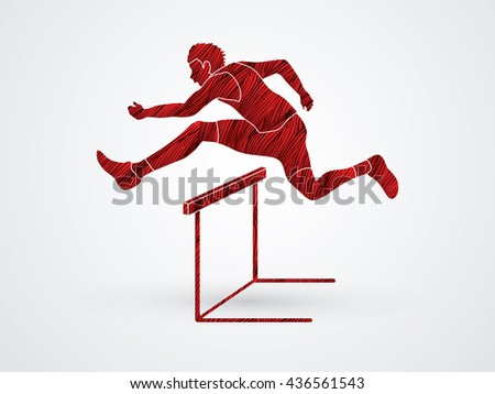 hurdler hurdling designed using