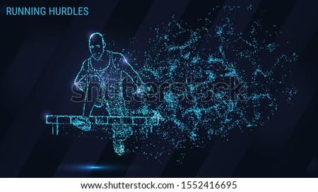 Hurdling is made up of particles. The hurdles are composed of dots and circles. Man running hurdles.