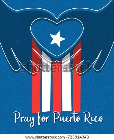 Hurricane relief for Puerto Rico design. Puerto Rican flag with hands  forming a heart shape.  Foto stock ©