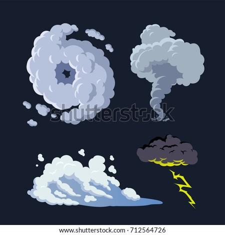 hurricane storm surge tornado thunderstorm vector background set