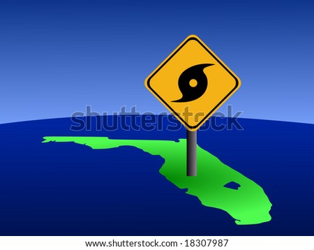 hurricane warning sign on Florida map illustration