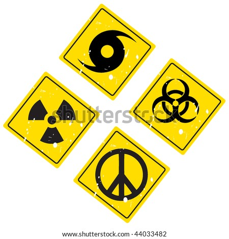 hurricane warning sign, pacific sign, radiation sign, biological sign
