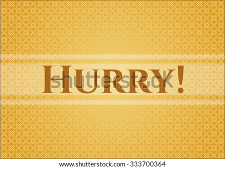 Hurry! banner or card