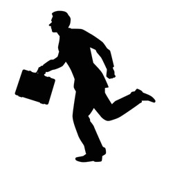 Hurry businessman silhouette vector on white background