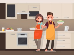 Husband and wife are preparing together. Man and woman in the kitchen. Vector illustration in a flat style