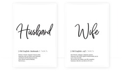 Husband and wife definition, Minimalist Wording Design, Wall Decor, Wall Decals Vector, noun description, Wordings Design, Lettering Design, Art Decor, Poster Design isolated on white background