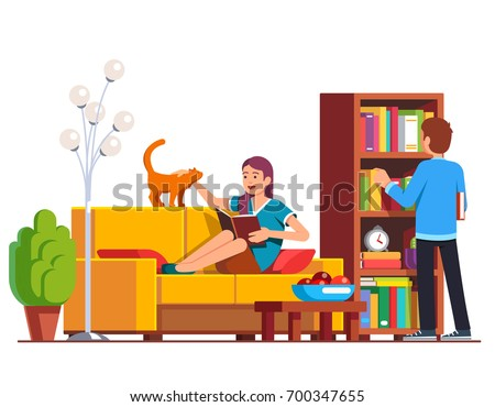 Husband and wife relaxing and reading at home living room. Man picking book from wooden bookcase, woman lying on sofa petting domestic cat distracting her. Flat vector illustration isolated on white.