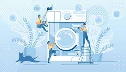 Husband for an Hour, Repair Service, Tiny Handymen Characters in Uniform Fixing Huge Broken Washing Machine Technics at Home. Plumber Call Master at Work, Plumbing Cartoon Flat Vector Illustration