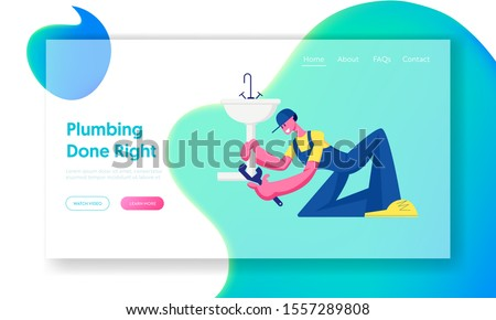 Husband for an Hour Repair Service Website Landing Page. Handy Man Fixing Broken Sink in Bathroom at Home. Plumber Call Master Fix Sanitary at Work Web Page Banner. Cartoon Flat Vector Illustration