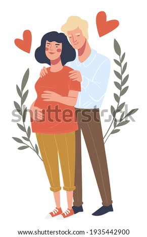 Husband holding belly of expecting wife, isolated people in love. Pregnancy and happiness in family. Man touching tammy of woman. Boyfriend and girlfriend in relationship. Vector in flat style Zdjęcia stock ©