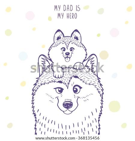 husky dad with a cute husky kid