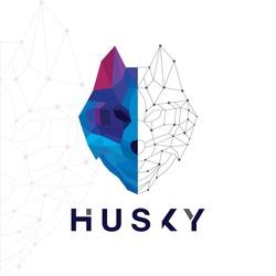 Husky dog logo design template.