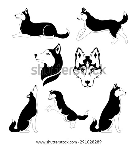 husky icons and silhouettes