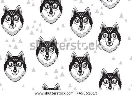 husky or wolf monochrome