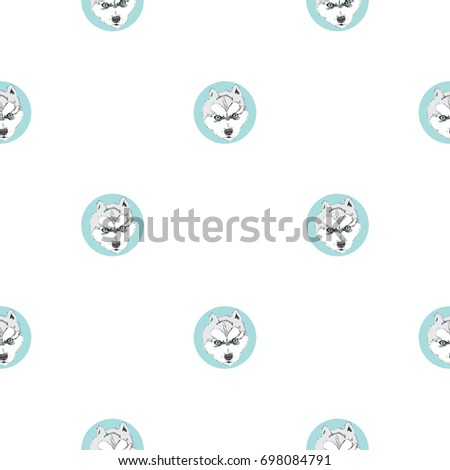 husky seamless pattern with