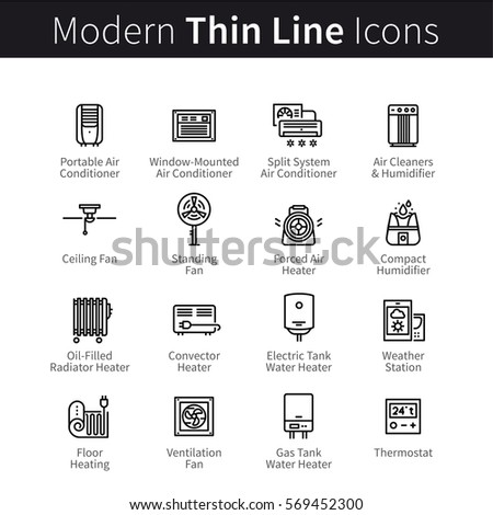 HVAC - heating, ventilation and air conditioning devices set. Home cooling and humidifying appliances. Thin black line art icons. Linear style illustrations isolated on white.