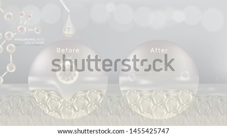 Hyaluronic acid before and after skin solutions ad, white collagen serum drop with cosmetic advertising background ready to use, illustration vector.