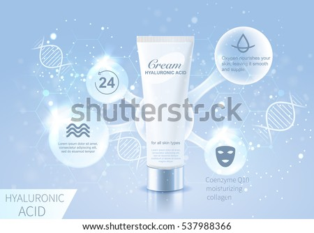 Hyaluronic Acid cream drop structure infographics