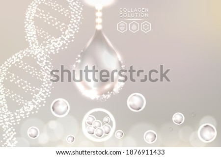 Hyaluronic acid skin solutions ad, white collagen serum drop with cosmetic advertising background ready to use, illustration vector. Сток-фото ©
