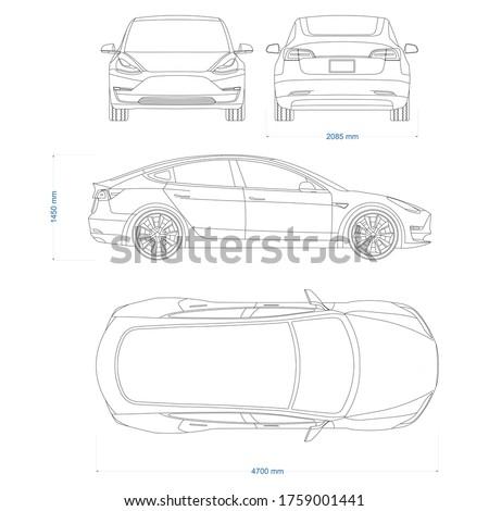 Hybrid car vector template. Electric car blueprint. Compact sedan car on white background. Mockup template for branding. Blank vehicle branding mockup.
