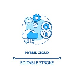 Hybrid cloud concept icon. SaaS deployment model idea thin line illustration. Flexibility, security, compliance options. Cloud resources. Vector isolated outline RGB color drawing. Editable stroke