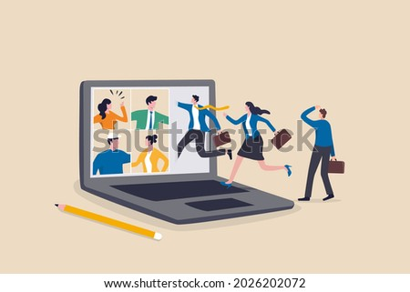 Hybrid work, remotely work from home virtually or work in office onsite, flexible for employee benefit concept, businessman and his colleague virtually get into the computer laptop conference meeting.