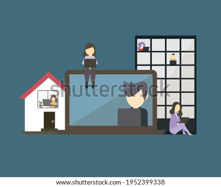 hybrid workplace with employees working from both office and home vector
