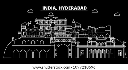 Hyderabad silhouette skyline. India - Hyderabad vector city, indian linear architecture, buildings. Hyderabad travel illustration, outline landmarks. India flat icons, indian line banner