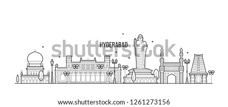 Hyderabad skyline, Telangana, India. This illustration represents the city with its most notable buildings. Vector is fully editable, every object is holistic and movable
