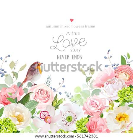 hydrangea  rose  peony  poppy