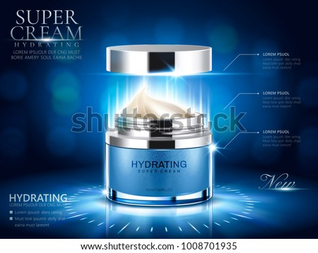 Hydrating cream ads, blue cream jar with open lid and bokeh background in 3d illustration Сток-фото ©