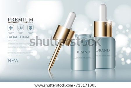 Hydrating facial serum for annual sale or festival sale. blue and gold serum mask bottle isolated on glitter particles background. Graceful cosmetic ads, illustration.