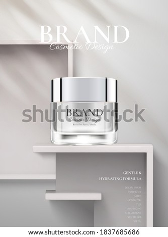 Hydration cosmetic cream on a white stage in 3d illustration. Beauty cream ads template.