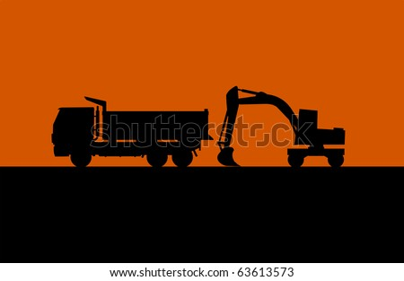 Hydraulic shovel and lorry silhouette vector