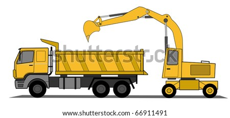 Hydraulic shovel and lorry vector