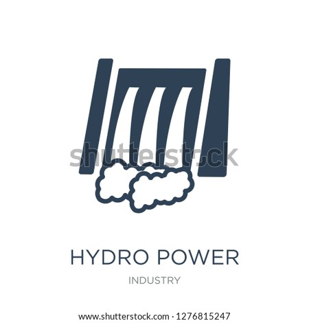 hydro power generation icon vector on white background, hydro power generation trendy filled icons from Industry collection, hydro power generation vector illustration