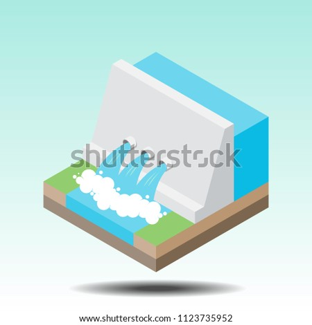 Hydro power plant and factory in flat isometric. Hydro energy industrial concept. Production of energy from the water. Vector illustration.
