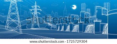 Hydro power plant. River Dam. Energy station. Power lines. People at shore. City infrastructure industrial panorama. Urban life. White outline on blue background. Vector design art Сток-фото ©