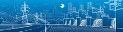 Hydro power plant. River Dam. Renewable energy sources. Illumination highway. City infrastructure industrial illustration panorama. Urban life. White lines on blue background. Vector design