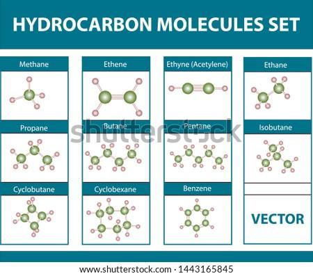 hydrocarbon molecules set. on white background hydrocarbon molecules set