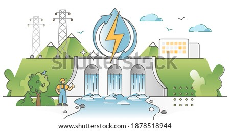 Hydroelectric power production, electricity from water stream outline concept Сток-фото ©