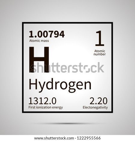 Hydrogen chemical element with first ionization energy, atomic mass and electronegativity values ,simple black icon with shadow on gray