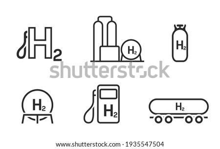 Hydrogen energy line icon set. environment, eco friendly industry and alternative energy symbols. isolated vector images