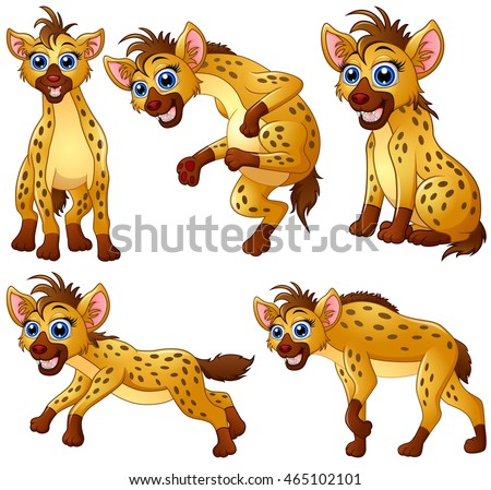 Hyena cartoon set collection
