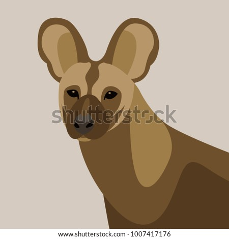 hyena face vector illustration  flat style front side