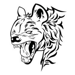 Hyena head in vector illustration.